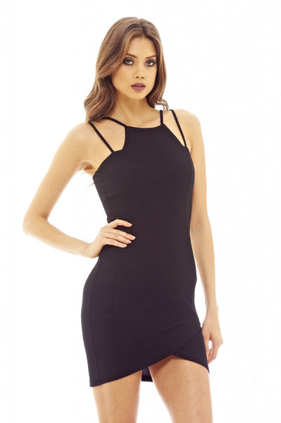Black Bodycon Dress with Double Strap