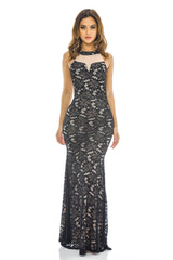 Black Contrast  Crochet Maxi Dress