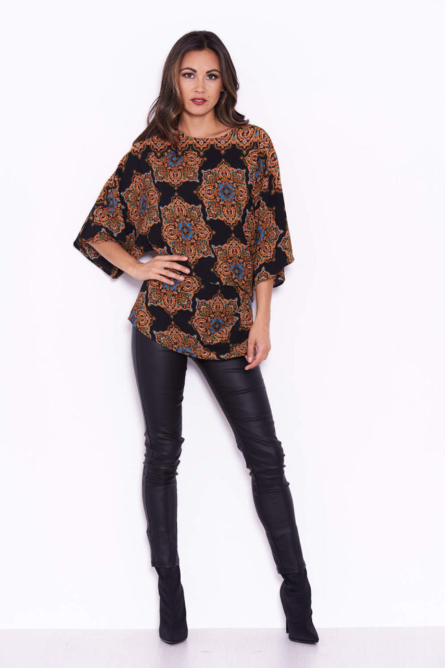 Black Paisley Top