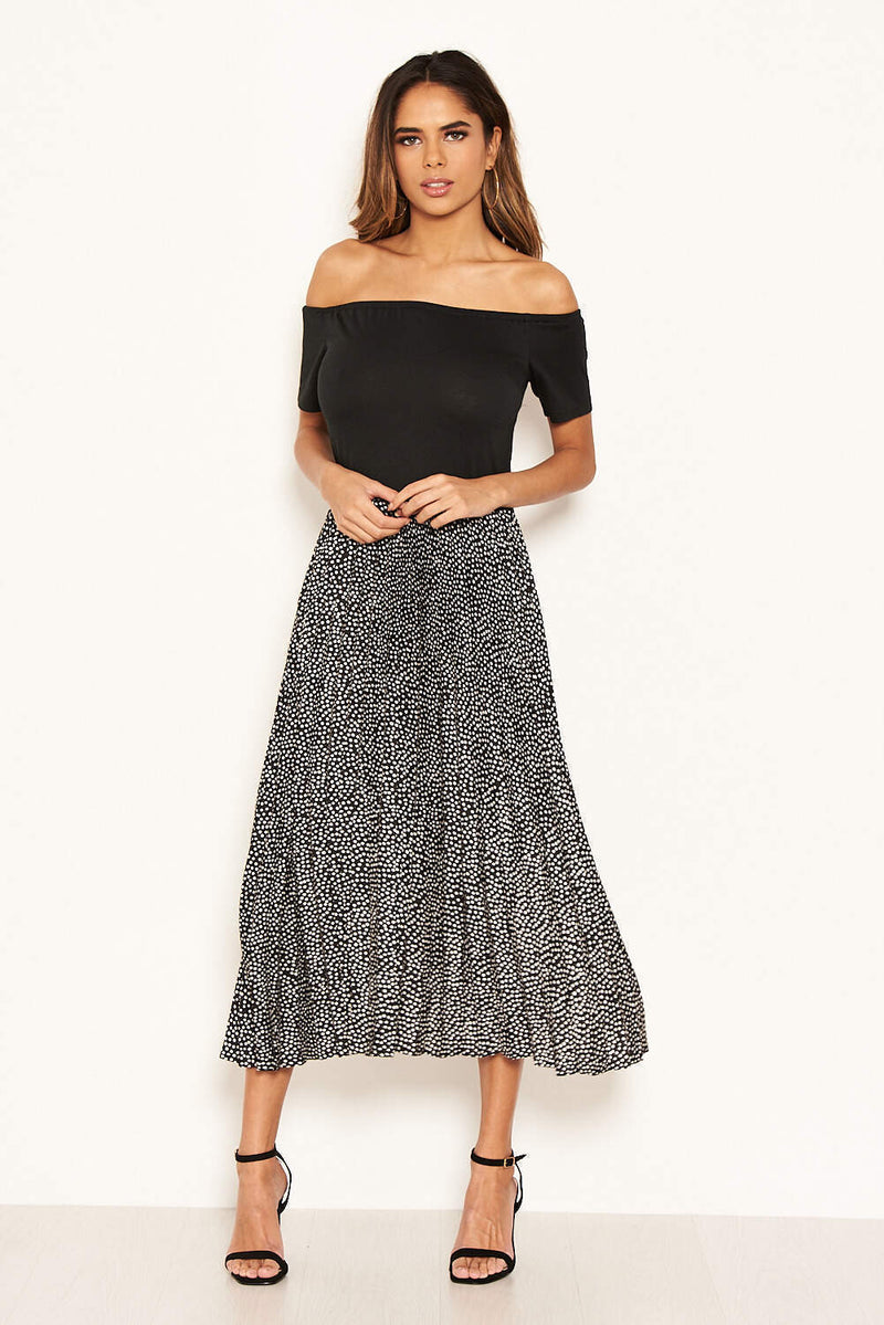 Black 2 in 1 Polka Dot Pleated Midi Dress