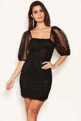 Black Polka Dot Mesh Puff Sleeve Ruched Bodycon Dress