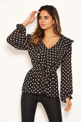 Black Ruffle Polka Dot Top
