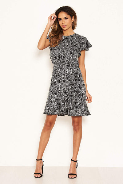 Black Polka Dot Wrap Frill Mini Dress