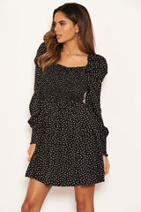 Black Spotty Square Neck Elasticated Swing Dress