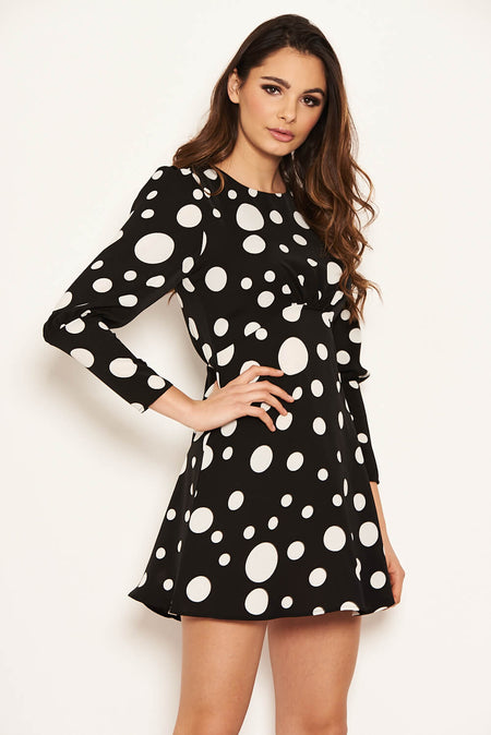 Mint Puff Sleeve Polka Dot Skater Dress