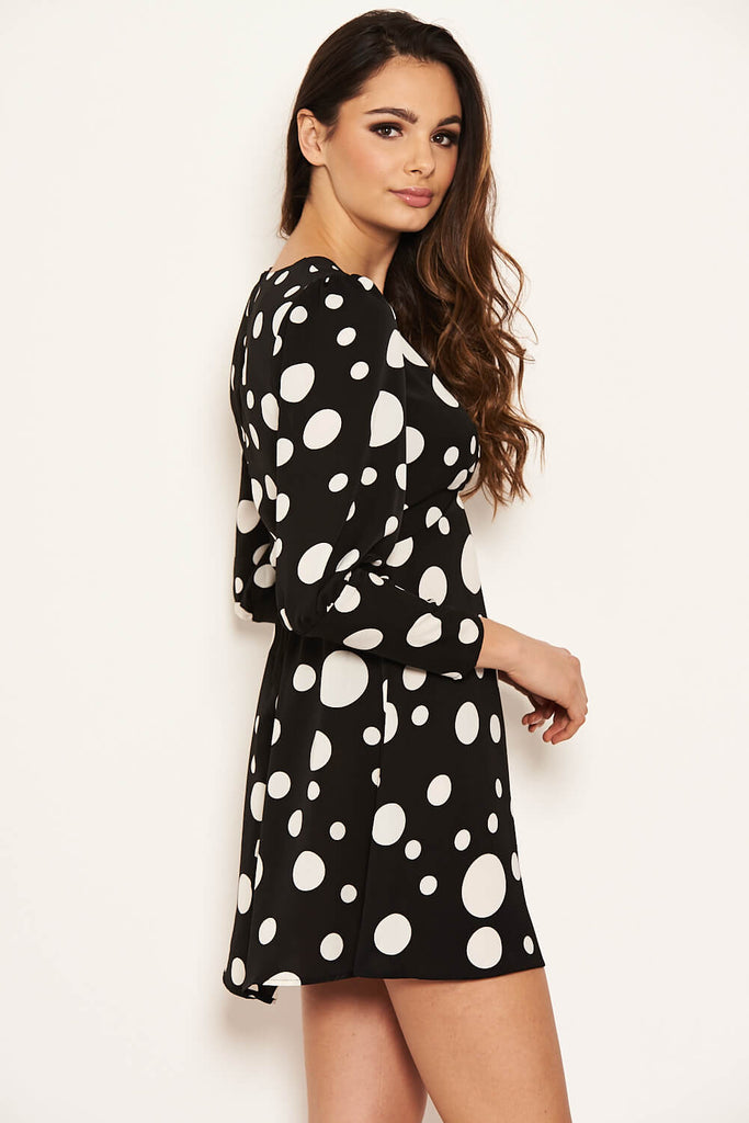 Black Polka Dot Long Sleeve Dress