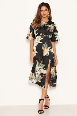 Black Printed Midi Dress