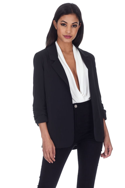 Black Blazer Jacket With Ruched Sleeves
