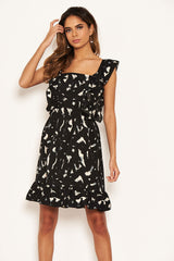 Black Printed Square Neck Frilled Dress