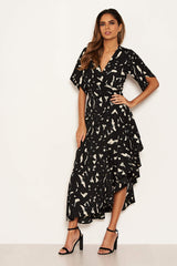 Black Printed Wrap Side Frill Dress