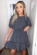 Black Spot Print Day Dress