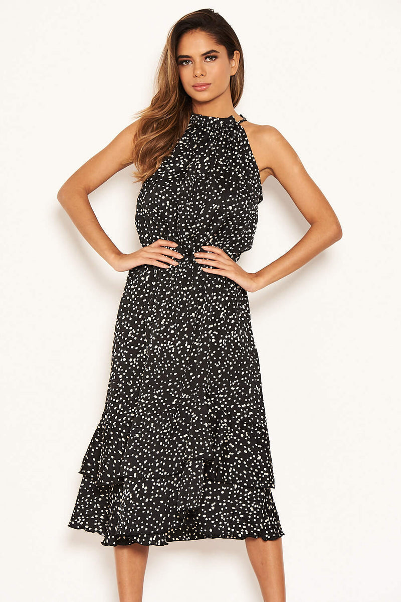 Black Spotty High Ruffle Neck Midi Dress