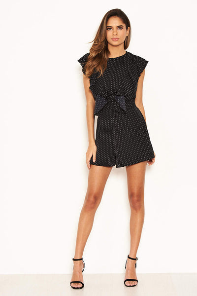 Black Polka Dot Frill Panel Playsuit