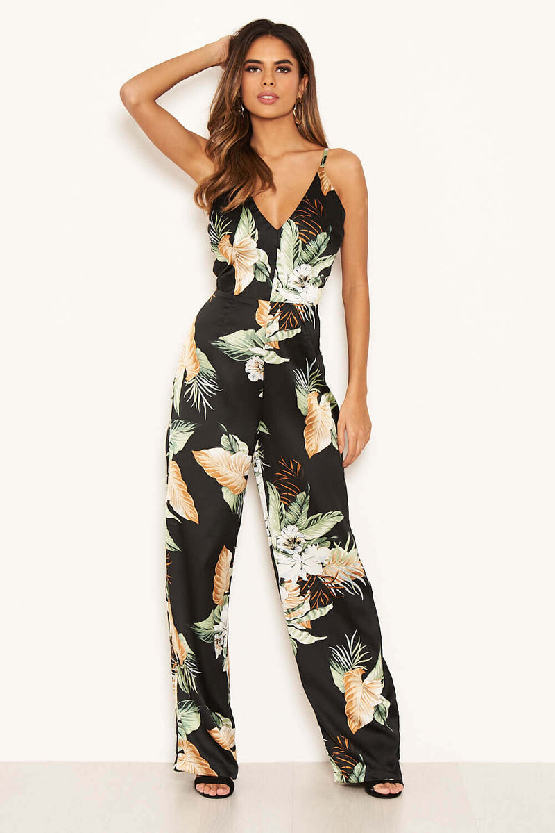 Black Floral V-Neck  Strappy Satin Jumpsuit