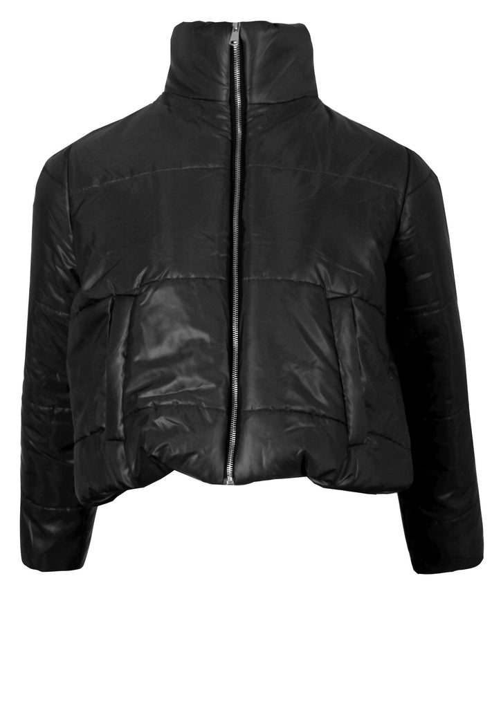 Black Wet Look Puffer Jacket