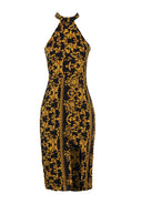 Black And Gold Patterned Midi dress
