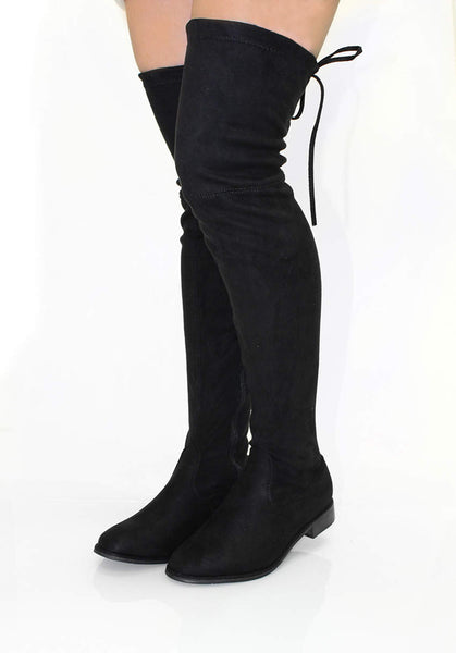 1add1066d27 Black Suede Thigh High Boots