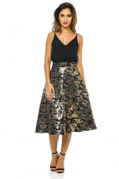 Black And Gold 2 in 1 Metallic Midi Skirt  Dress