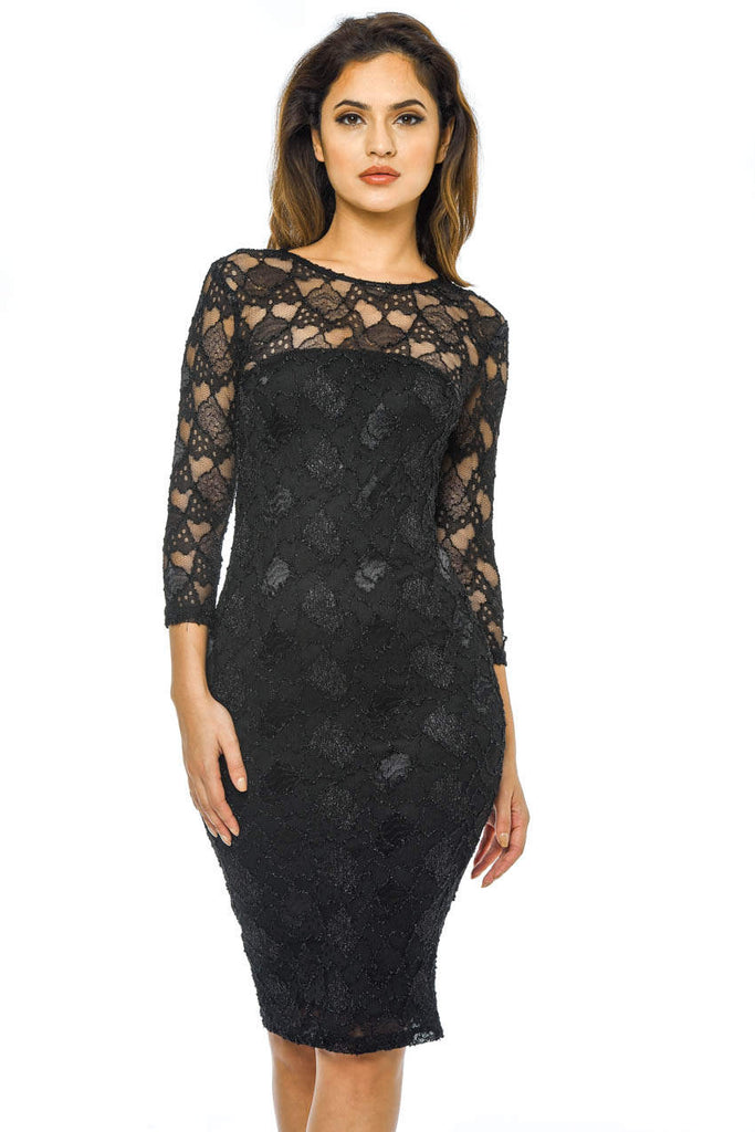 Black Sequin 3/4 Sleeve Bodycon Dress