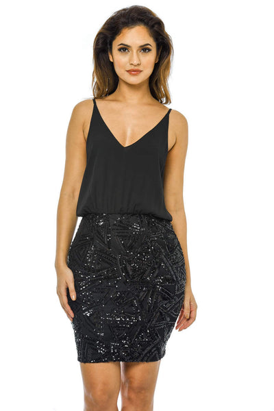 653eb7657bf Black 2 In 1 Sequin Dress with Sequin Skirt – AX Paris