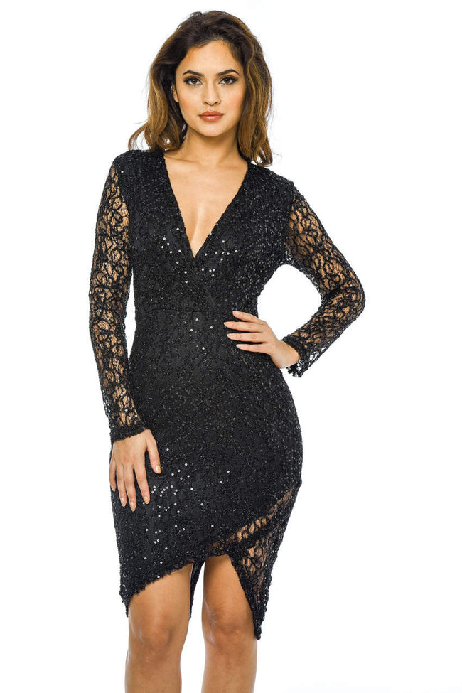 Black Sequin Midi Dress with Wrap Front