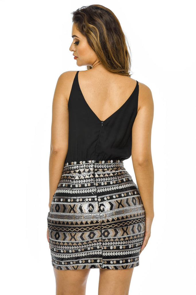 Patterned   Sequin Skirt 2 in 1 Dress