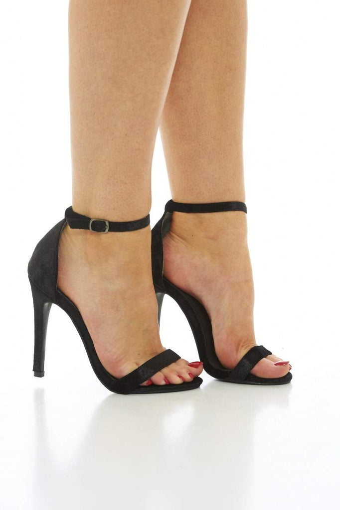 Black Simple Crushed Velvet Heels with Strappy Detail