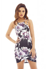 Double Strap Floral Bodycon Dress