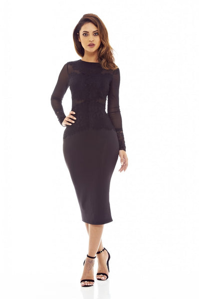 Black Midi Dress with Lace and Mesh Detail