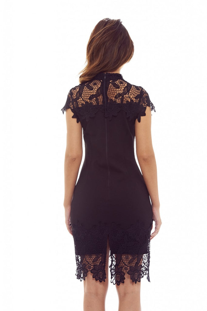 Black Midi Dress with  Crochet Lace Overlay
