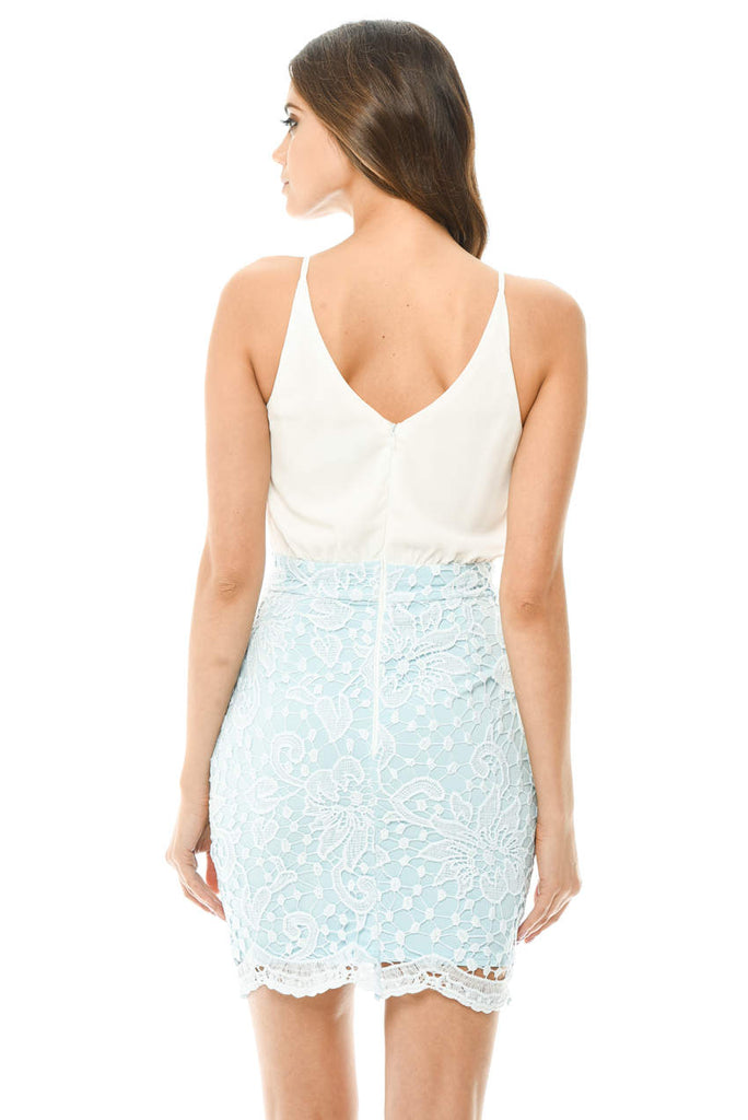Blue 2 in 1 Crochet Skirt Mini Dress