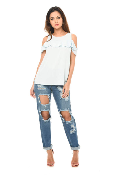 Blue Loose Fitting Ripped Jeans