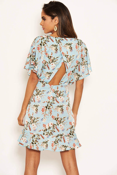 Blue Floral Print Cross Back Dress