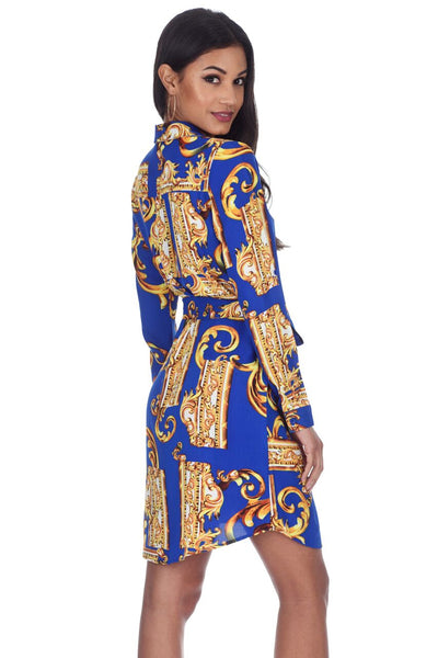 Blue Patterned Shirt Dress