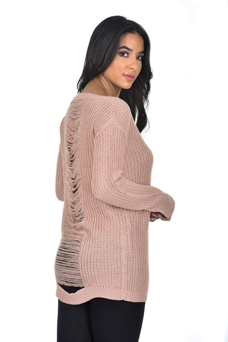 Pink V Neck Cable Knit Laddered Jumper