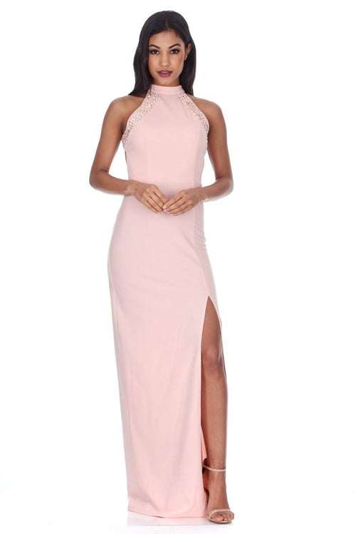 08718c1411 Blush Sequin Panel Detailing Maxi Dress With Thigh Split
