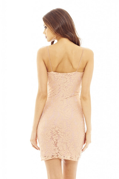 Pink Mini Dress with Lace