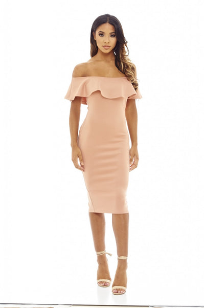 Blush  Off The Shoulder Frill Bodycon Midi                   Dress