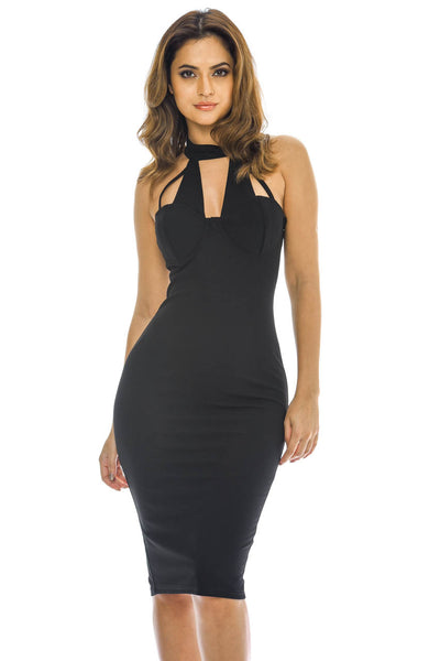 Black Choker  Harness Bodycon Midi Dress