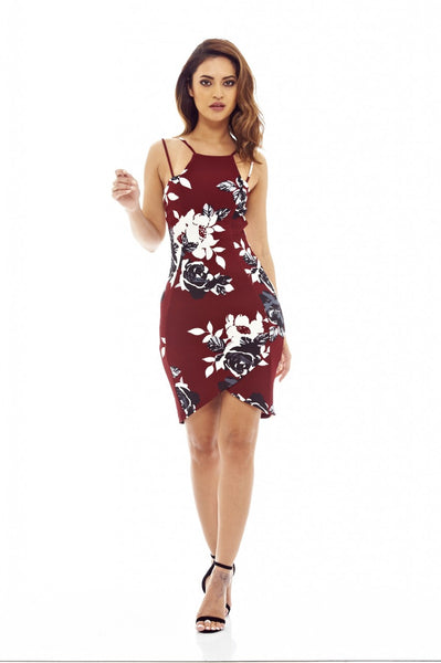 Burgundy Mini Dress with Floral Printed Detail