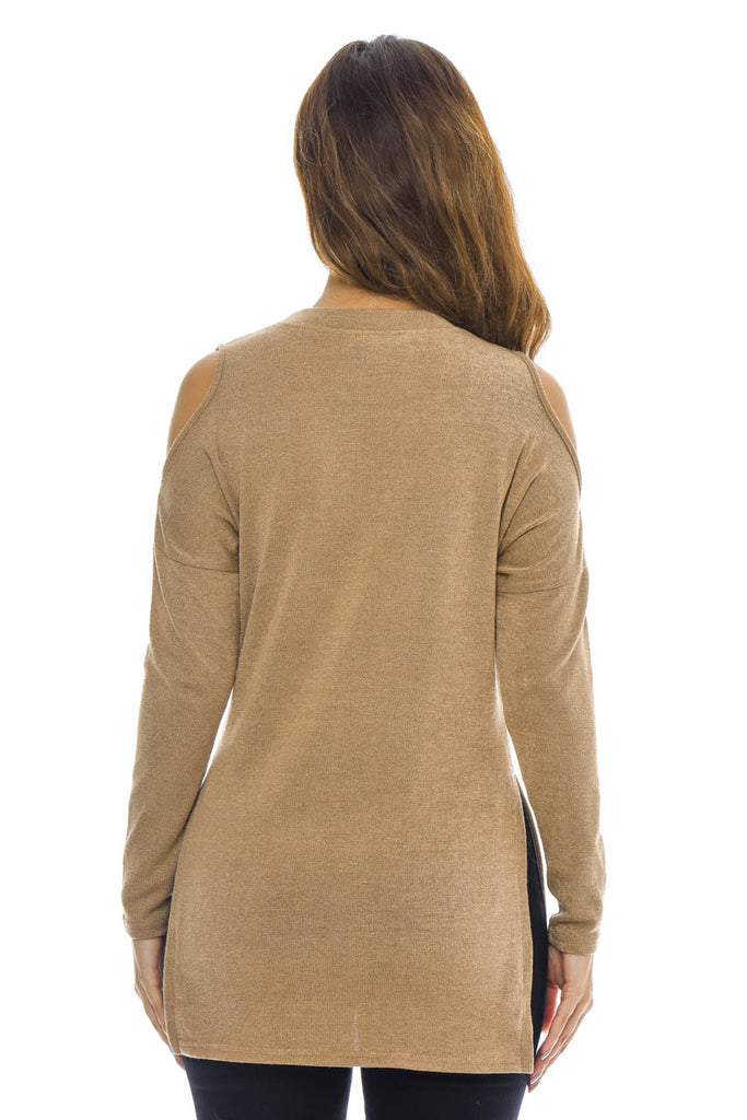 Camel Knitted Top with Cut Out Shoulder