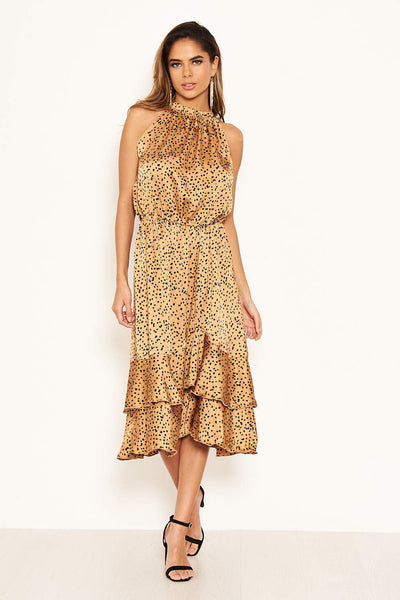 Camel Spotty High Ruffle Neck Midi Dress
