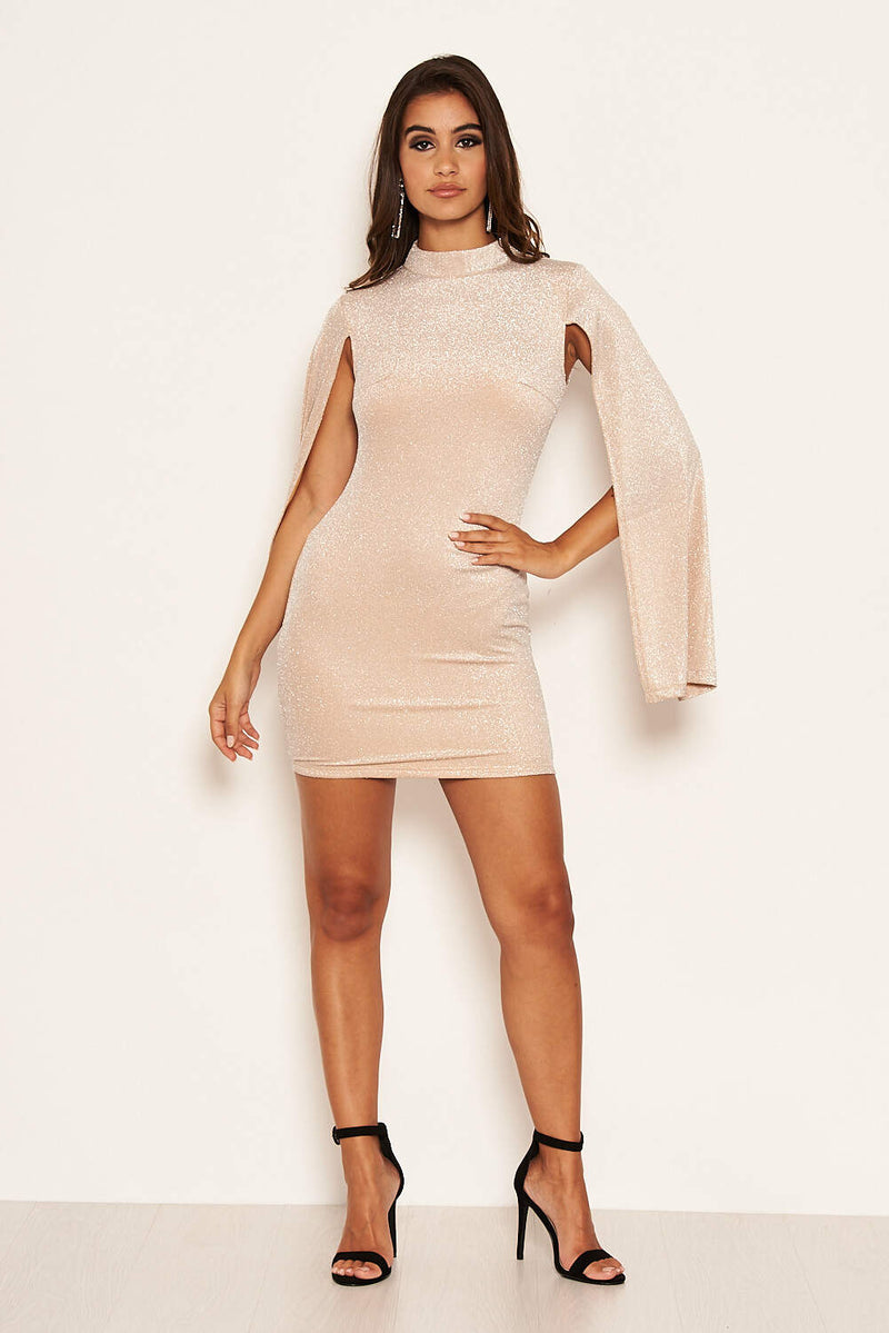 Champagne Sparkle Split Sleeve Bodycon Dress