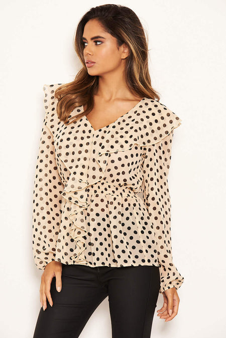 Cream Frilled Sleeve High Neck Top