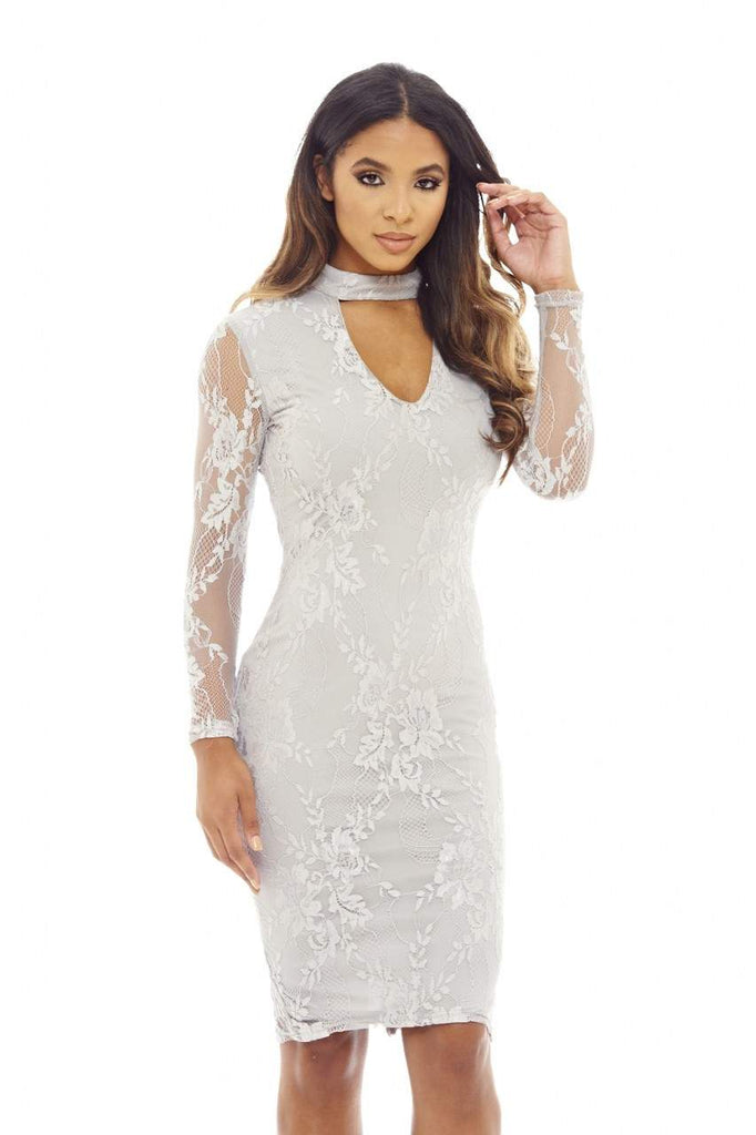 Grey Choker Lace Midi  Dress