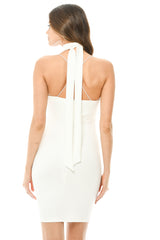 Cream Embroidered Bodycon Dress