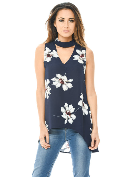 Choker V Neck Printed Sleeveless Top