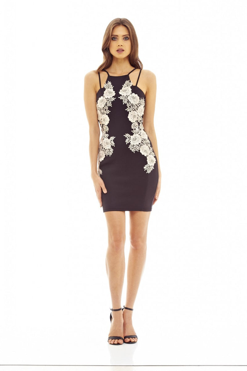 Black Mini Bodycon Dress with Lace Insert