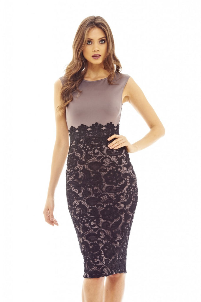 Grey And Black Lace Midi Bodycon Dress