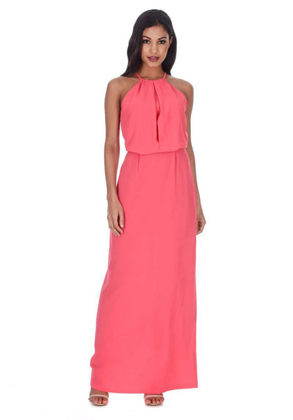 Coral Halterneck Strappy Lace Detail Maxi Dress